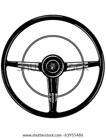 Retro Steering Wheel - Clipart Illustration - stock vector