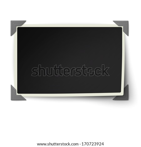 Retro straight edges photo frame with one not fixed corner in vintage photo corners isolated on white background - stock vector