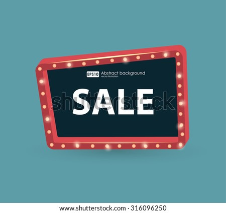 Retro street signboard. Vector retro banners for sale. vintage billboard, bright signboard, light banner. Signboard with space for text - stock vector