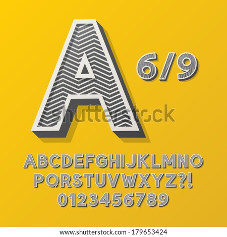 Retro Stripe Style 6/9 Alphabet and Numbers, Eps 10 Vector Editable, No Clipping Masks - stock vector