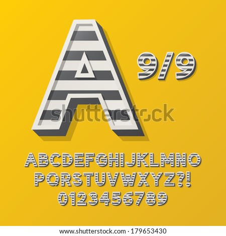Retro Stripe Style 9/9 Alphabet and Numbers, Eps 10 Vector Editable, No Clipping Masks - stock vector