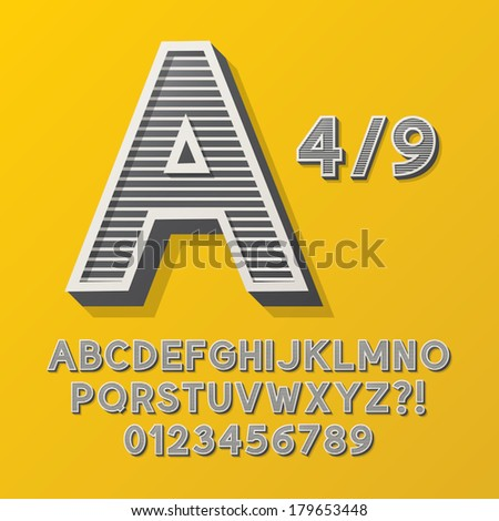 Retro Stripe Style 4/9 Alphabet and Numbers, Eps 10 Vector Editable, No Clipping Masks - stock vector