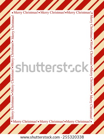 Retro striped frame with red  stripes with merry christmas letters. christmas candy cane border - stock vector