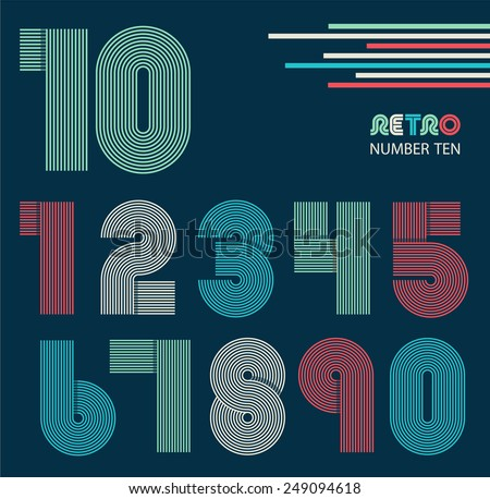 Retro stripes funky numbers set,trendy elegant retro style design. Vector design. - stock vector