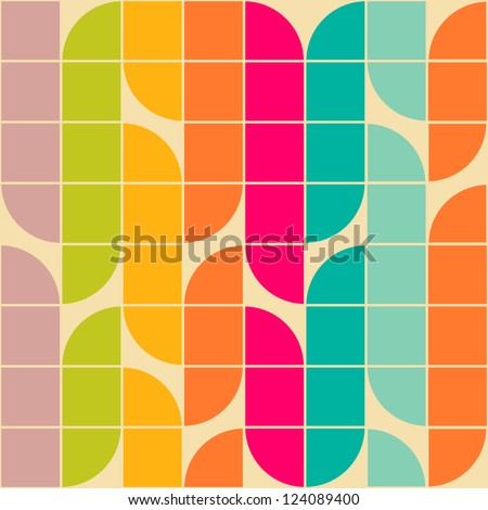 Retro style abstract seamless pattern - stock vector