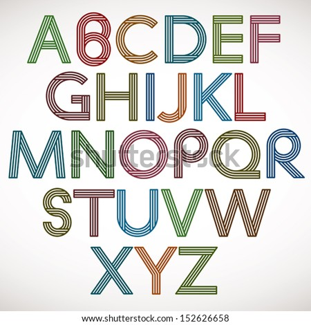 Retro style alphabet, striped letters vector typeface. - stock vector