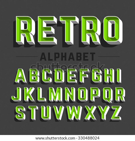 Retro style alphabet vector illustration - stock vector