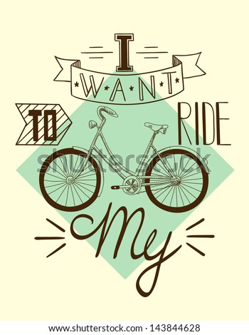 Retro style bicycle illustration with text 3 - stock vector