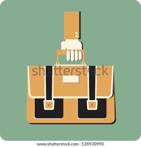 Retro style briefcase  in a hand - stock vector