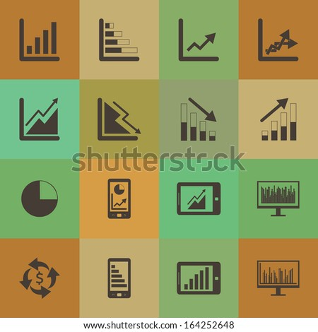 Retro style  Business Graph icon vector set. - stock vector