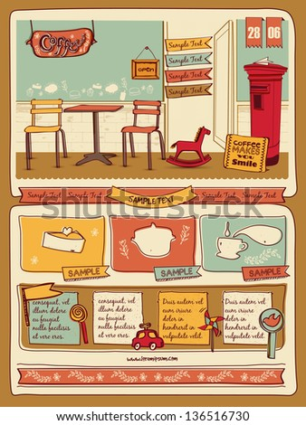 Retro style cafe elements 4 - stock vector