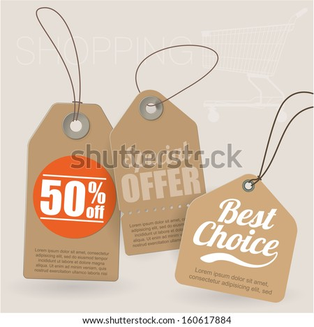 Retro style cardboard vintage sale labels. Vector. - stock vector