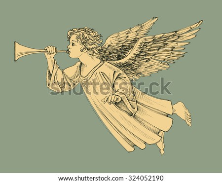 Retro style Christmas angel - stock vector