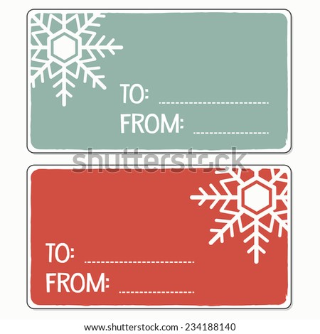 Retro Style Christmas Tags with Snowflake and Copy Space - stock vector