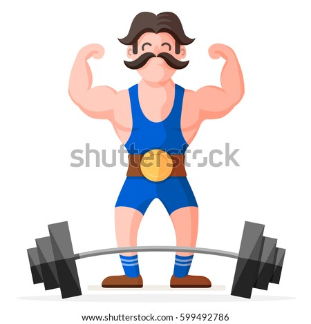 retro style circus strong man mustache stock vector 599492786 shutterstock. Black Bedroom Furniture Sets. Home Design Ideas