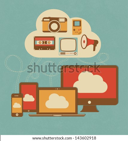 Retro Style Cloud Concept Illustration - stock vector