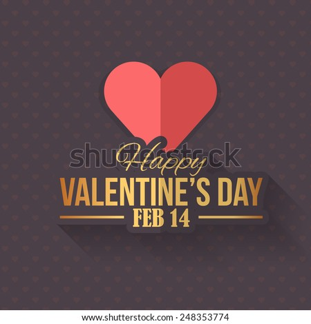 Retro Style Coffee Color Concept Valentines Day Flat Celebration Card, Background, Announcement and Celebration Message Poster, Flyer Design  - stock vector