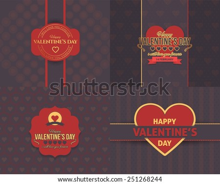 Retro Style Coffee Color Concept Valentines Day Flat Celebration Card, Background, Announcement and Celebration Message Poster, Flyer Design Set - stock vector