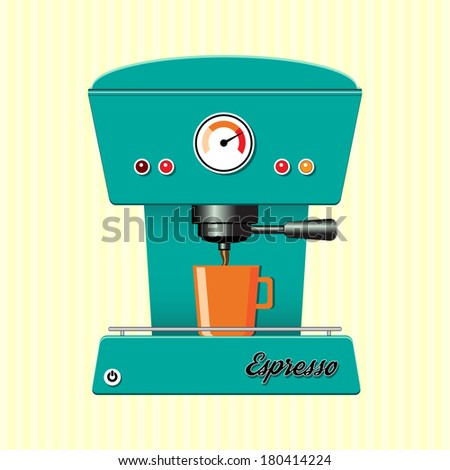 Retro style coffee maker on candy-stripe background. EPS10 vector format - stock vector