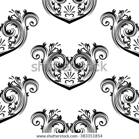 Retro style decorative floral scroll seamless pattern in black and white. - stock vector