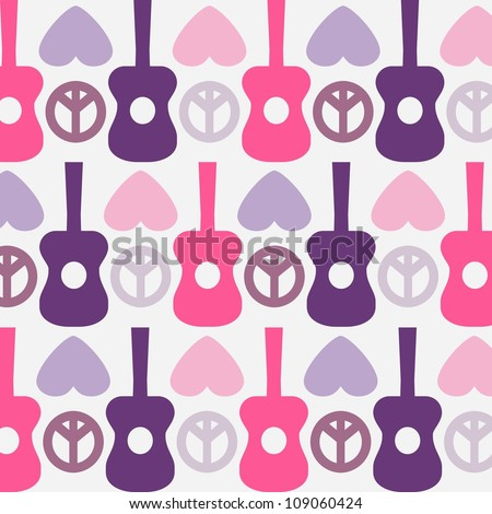 Retro-style design of Peace, Love and Music,seamless pattern - stock vector