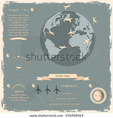 Retro style design with aircrafts and Globe. Vector eps10 - stock vector