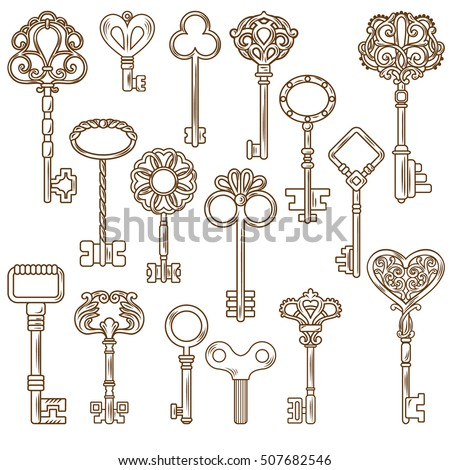Retro Style Door And Clock Keys With Outline Decorative Pattern Isolated On Blank Background Flat