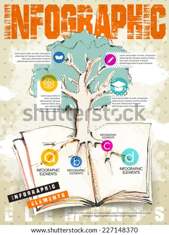 retro style education infographic with tree and book elements - stock vector