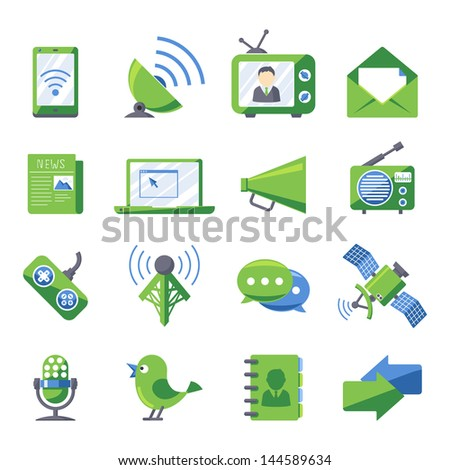 Retro style Electronics and media icons set Eco green series - stock vector
