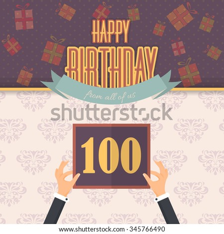 Retro Style Flat Happy Birthday Vector Design. Announcement and Celebration Message Poster Age 100 - stock vector