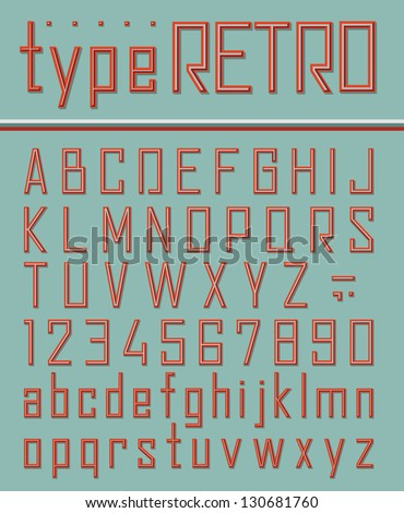 Retro style font - stock vector