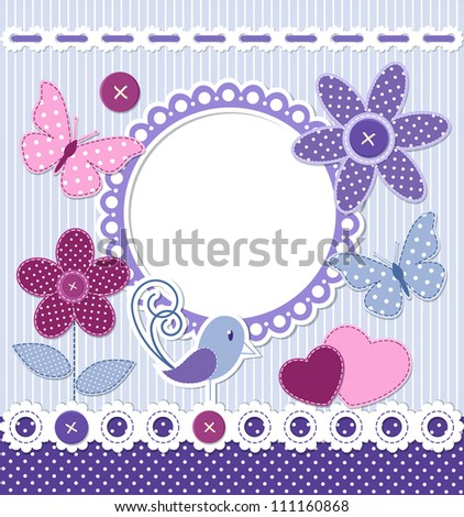 Retro style frame and design elements for scrapbooking - stock vector