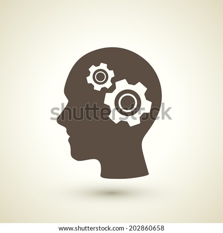 retro style gear in human's brain icon isolated on brown background - stock vector