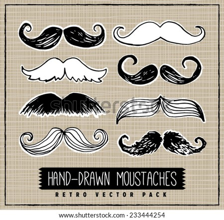 Retro Style Hand-Drawn Moustaches Vector Set with Crosshatch Seamless Background - stock vector