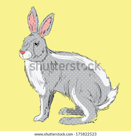 Retro style, hand drawn rabbit with polka dots on orange background Hand Drawn Illustration