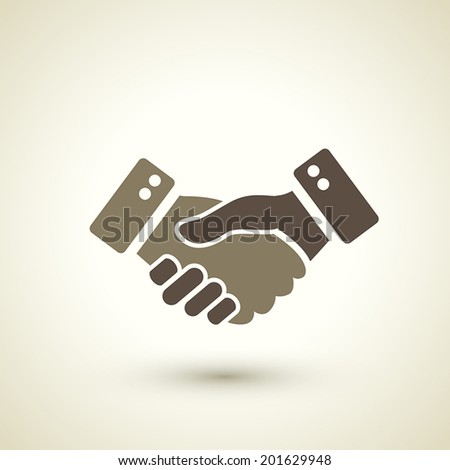 retro style handshake icon isolated on brown background - stock vector