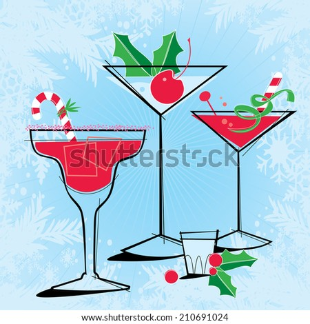 Retro-style Holiday Cocktails Retro-stylized Holiday Cocktails with snowflake frame. Each item is grouped so you can use them independently from the background. Layered file for easy edit. - stock vector