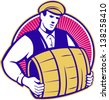 Retro style illustration of a bartender carrying keg barrel of beer set inside circle on isolated white background. - stock vector