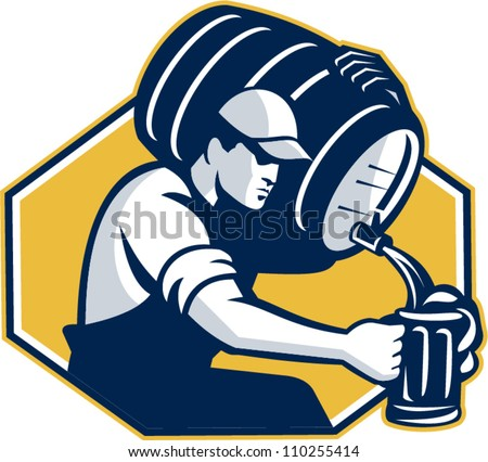 Retro style illustration of a bartender pouring keg barrel of beer into mug set inside hexagon on isolated white background. - stock vector
