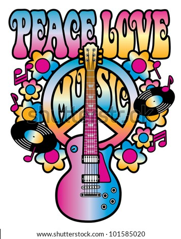 Retro-style illustration of a guitar and peace symbol with the words Peace Love Music. Type style is my own design. Elements are grouped and on separate layers for easy editing. - stock vector