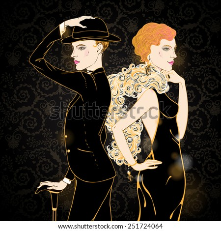 Retro style illustration  of two young beautiful women of 1920s. Can be used for cards, invitations, wallpapers or  template for design and decoration. - stock vector