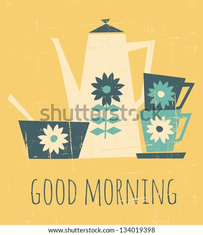 Retro style illustration with a coffee pot, cups and a bowl. - stock vector