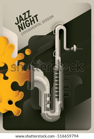 Retro style Jazz night poster. Vector illustration.