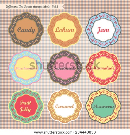 Retro style kitchen food storage tags collection vector