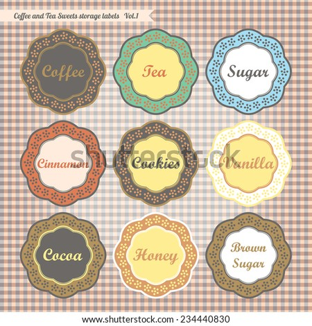 Retro style kitchen sweet food storage tags collection vector