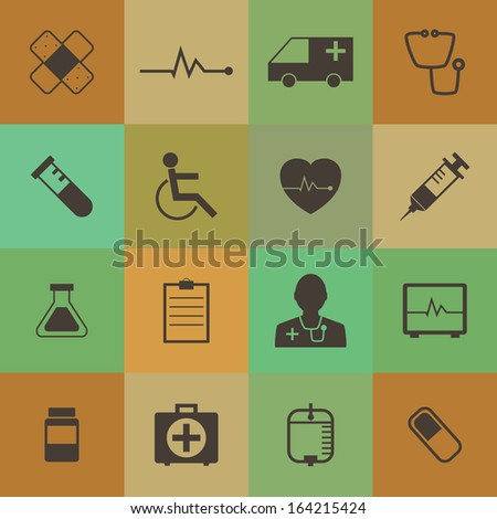 Retro style  Medical Icons vector set.