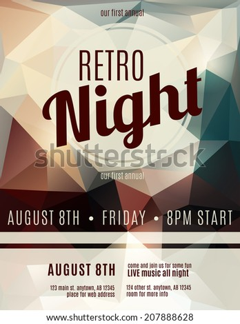 Retro style night club flyer template - stock vector