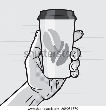 Retro Style - Paper Coffee Cup in Hand - stock vector