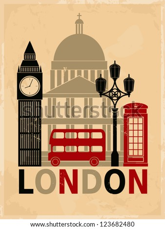 Retro style poster with London symbols and landmarks. - stock vector