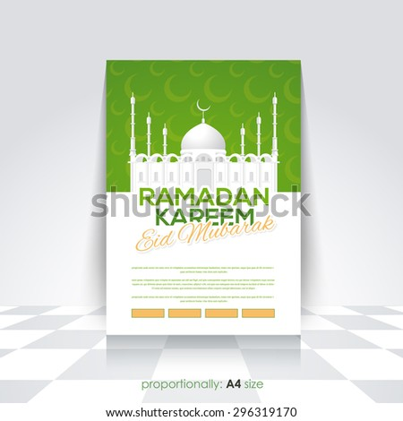 """Retro Style Ramadan Kareem Flyer, Brochure, Cover - Islamic Holy Month Concept Vector Background - Arabic """"Eid Mubarak"""", """"be Blessed"""" at English - stock vector"""